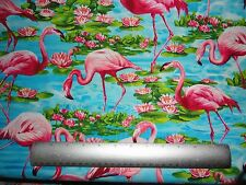 Flamingos Lilly pad and Lilly flowers Blue water cotton fabric quilting sewing