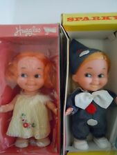 "RARE SET ! 1970'S FUN WORLD VINTAGE BIG EYES DOLLS  ""HUGGLES GIRL & SPARKY BOY """