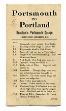 Vintage Driving Direction Card PORTLAND ME TO PORTSMOUTH NH garage advertising