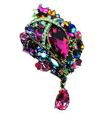 Vintage Antique Gold and Colourful Crystal Diamante Big Corsage Brooch Pin BR169