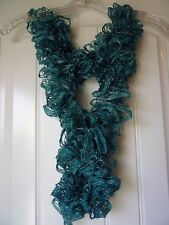 Handmade Crocheted Fashion Ruffle Scarf - Solid Turquoise Green Metallic