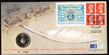 UK 1944 BANK OF ENGLAND £2 UNCIRCULATED COIN & ROYAL MAIL BOOKLET PANE 300 YRS