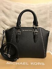 NWT MICHAEL KORS SAFFIANO LEATHER CIARA GROMMET MEDIUM MESSENGER BAG IN BLACK