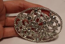 "3 "" VICTORIAN INSPIRED FILIGREE (glass) RHINESTONE Pin Brooch"