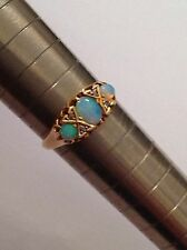 Fine Attractive Edwardian 18ct Gold Natural Opal & Rose Diamond Set Ring