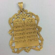 18K YELLOW GOLD TEN COMMANDMENTS STAR OF DAVID PENDANT