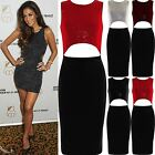 Womens Sequin Midi Dress Ladies Cut Out Bodycon Party Zip Up Top Stretch Skirt