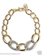 "NWT Banana Republic Gilded Link Necklace Jewelry Gold Stones Glass 18"" $79 NEW"