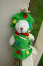 "Boyds White Teddy Bear Decorated Christmas Tree Costume Holiday 7"" Tall"