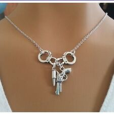 Handcuffs Gun Bullet Pendant Necklace Bff Charms Gift Jewelry Sale Womens