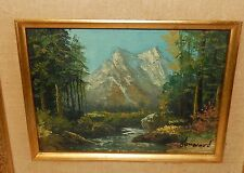 HOWARD SMALL SNOW MOUNTAIN RIVER LANDSCAPE ORIGINAL OIL ON BOARD PAINTING