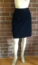 NWT Ann Taylor Faux Leather Trimmed Career Skirt Black Black Button Waist Size 6