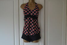 Women 2 Pcs Halter Red Spotty Tankini Swimsuit Swimming Costume (Size 12)