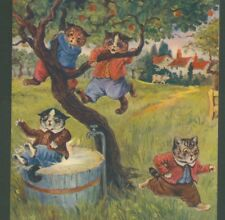 "RARE...!  LOUIS WAIN CATS IN TROUBLE CLIMBING TREE, ""WRITE AWAY"" OLD POSTCARD"
