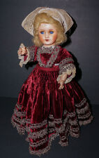 "Antique Paper Mache Doll Original French Velvet Gown 14""/15"""