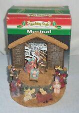 Ceramic Lighted Musical Holly Night Christmas Nativity Scene Jesus Mary Wise Men