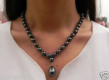 "Elegant 8mm Rainbow Black South Sea Shell Pearl Drop Pendant Necklace 18"" AAA+"