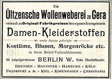 Ültzensche Wollenweberei Gera DAMEN KLEIDERSTOFFE Historische Reklame von 1896