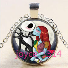 Nightmare Before Christmas Cabochon silver Glass Chain Pendant Necklace #3299