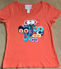 Coach Poppy Applique Graphic Tee Shirt RARE sz L EUC