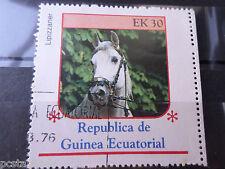 GUINEE EQUATORIALE, timbre THEME CHEVAUX, HORSES, LIPIZZANER, oblitéré