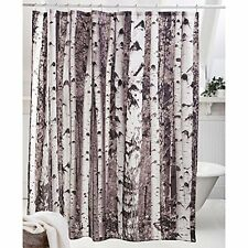 Birch Wood Tree Design Shower Curtain - Hunting Outdoors Polyester Bath Bathroom