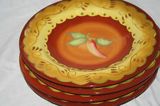 "LAURIE GATES ""SANTA FE"" CHILI PEPPERS (4) SALAD PLATES 9 3/4"""