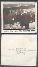 Vintage Photo w/ Caption Man & Pretty Girls Waiting on Sidewalk 674224