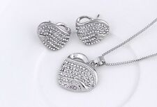 SILVER PLATED  DIAMANTE RHINESTONE CRYSTAL HEART NECKLACE EARRINGS SET