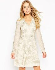 Needle & Thread Long Sleeve Lace Embellished Plunge Skater Dress UK 6-EU 34-US 2