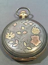 Antique Sterling Silver & Multi Color Gold Inlay Hunter Pocket Watch Case Only.