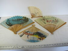 Lot of 4 Vintage Chinese Ladies Paper Folding Hand Fan