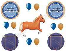 BLUE BANDANA & TAN HORSE HAPPY Birthday Party Balloons Decoration Supplies Denim