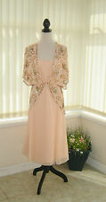 14 BERKERTEX DRESS / JACKET 2 IN 1 PEACH GOLD BEADED DECO 20's GATSBY CRUISE NEW
