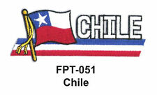 "1-1/2'' X 4-1/2"" CHILE Flag Embroidered Patch"