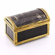 Finest Quality Antique Natural Agate Gilt Metal Chest Trunk Trinket Box Scottish