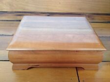 "Levenger Solid Cherry Hard Wood Wooden Jewelry Trinket Desk Box 9.5""x7.5"""