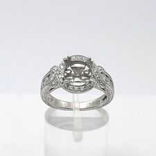 Kirk Kara 18k White Gold Deco Style Pave' Diamond Engraved Semi Mount Ring Sz 6