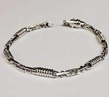 "10kt Solid White Gold Handmade Link Men's Bracelet 8.5""  5 MM  15 grams"