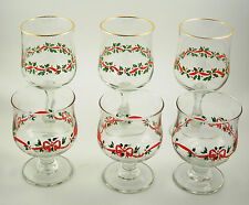 Six Christmas Glasses Wine Sherbet Hand Painted Holly Berry Design Gold Trim EUC