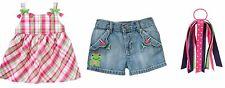 NWT Gymboree 5T 5 Bright Tulip Plaid Swing Top Denim Shorts Ribbon Pony Outfit