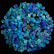 center drilled sea beach glass 20 pcs lot blue aqua turquoise cobalt jewelry use