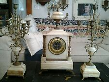 ANTIQUE JAPY FRERES FRANCE MARBLE AND BRASS MANTLE CLOCK CANDELABRA SET GARGOYLE