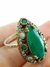 Handcrafted Artisan Jewelry 925 Sterling Silver Emerald Ring Size 7 R2244