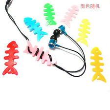 1PC Cool Silicon FishBone Headphone Cord Wire Cable Organizer Holder Wrap Winde