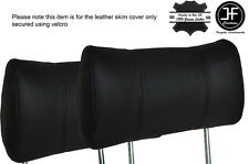 BLACK STITCHING 2X FRONT HEADREST LEATHER COVERS FITS FORD CAPRI MK3 1978-1986