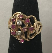 Natural Ruby & Diamond 14K Yellow Gold Ring Size 4.75