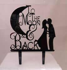 Wedding Party Reception To The Moon & Back Kissing Couple Cake Topper