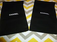"New CHANEL Made in Italy Small 13"" x 8"" Two Black Authentic Shoes Dust Bags."