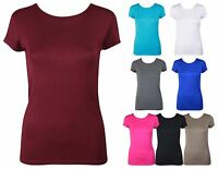 LADIES SHORT SLEEVE PLAIN T-SHIRT WOMENS ROUND CREW NECK CASUAL TOP SIZE 8-14